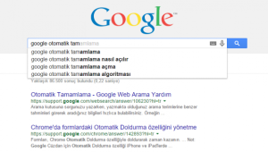 google-otomatik-tamamlama